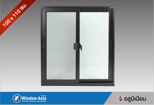 หน้าต่างอลูมิเนียมบานเลื่อน 100x110 สีดำ