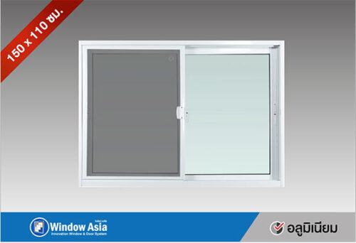 หน้าต่างบานเลื่อนอลูมิเนียม 150x110 สีขาว