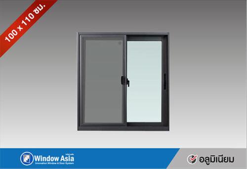 หน้าต่างบานเลื่อน 100x110 สีเทาซาฮาร่า