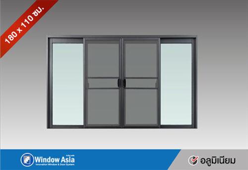 หน้าต่างบานเลื่อน 180x110 สีเทาซาฮาร่า