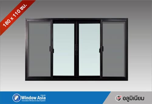 หน้าต่างอลูมิเนียมบานเลื่อน 180x110 สีดำ